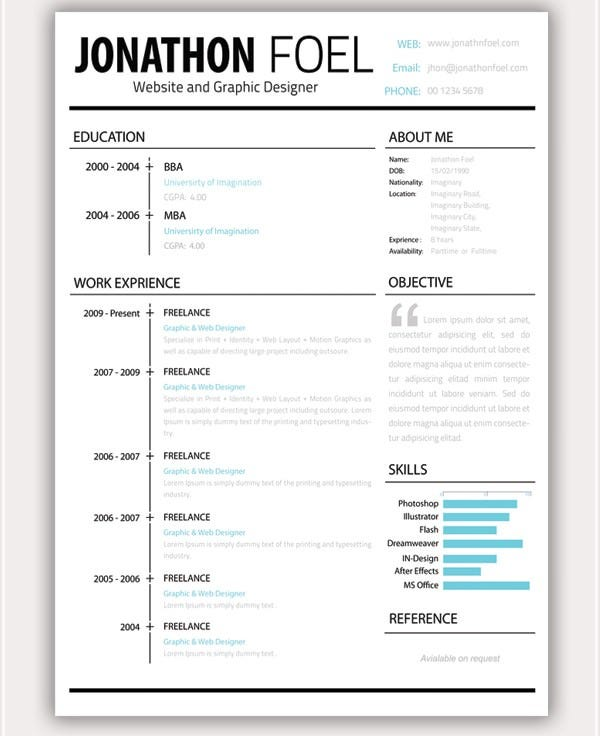 Minimalistic Resume PSD Set  Cool Resume Layouts