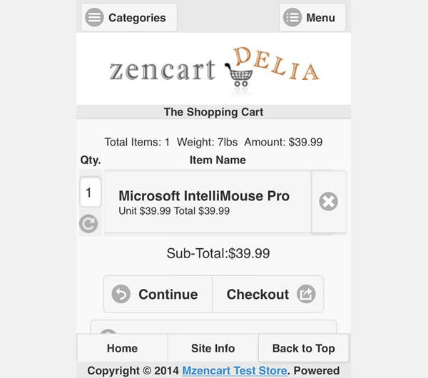 mobile template for zen cart stores