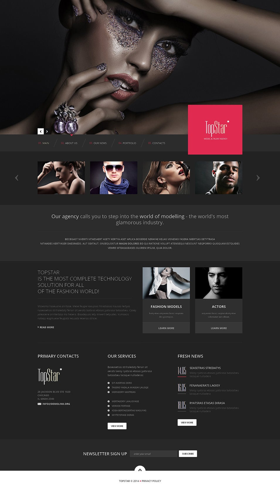 Model Agency Responsive Website Template