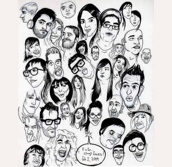 multiple cartoon face sketches