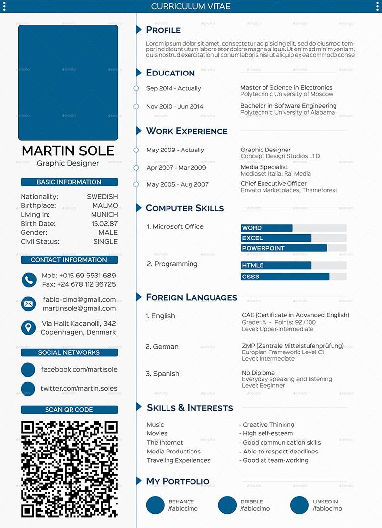CV Templates 61 Free Samples Examples Format Download – Curriculum Vitae Format