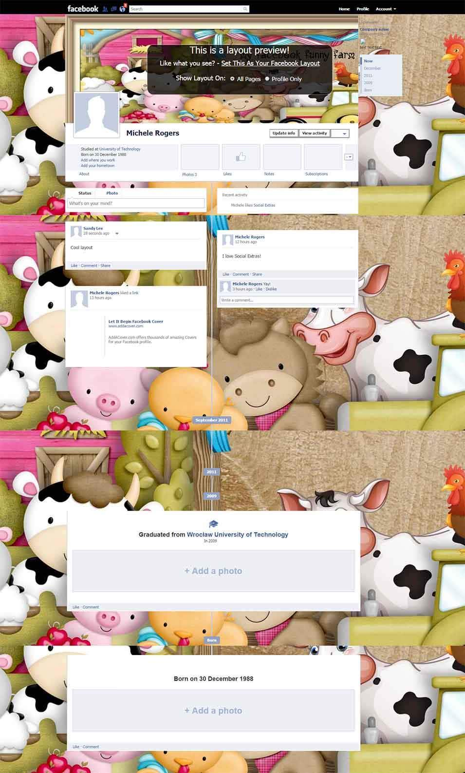 my facebook funny farm facebook layout preview