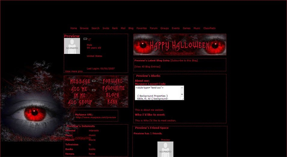 myspace layout preview halloween eyes