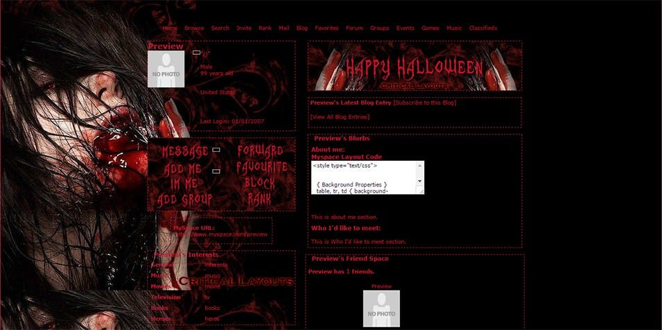 myspace layout preview taste of halloween