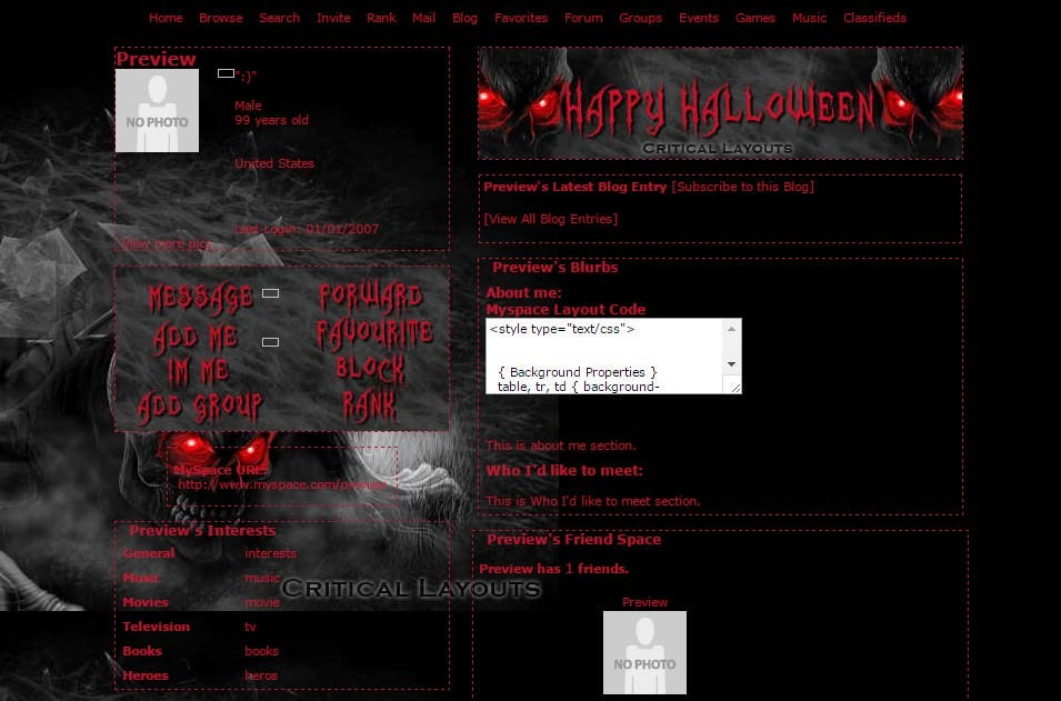 myspace layout preview zombie eyes