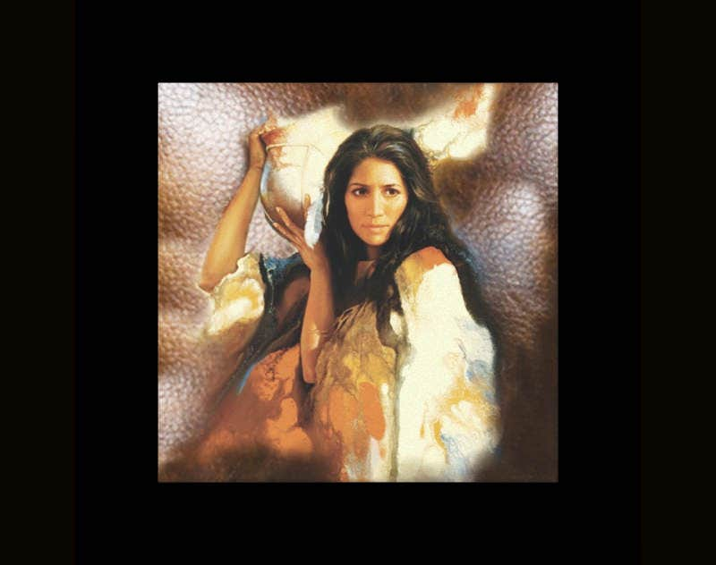 native american indian maiden on leather print stretched canvas prints