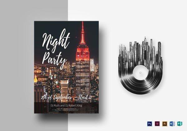 neon city club flyer template