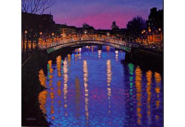 nighttown ha penny bridge dublin canvas print canvas art by john nolan