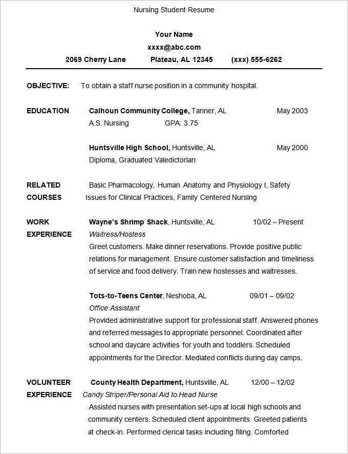 nursing student resume template sample