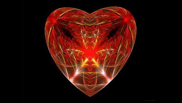 open heart canvas print