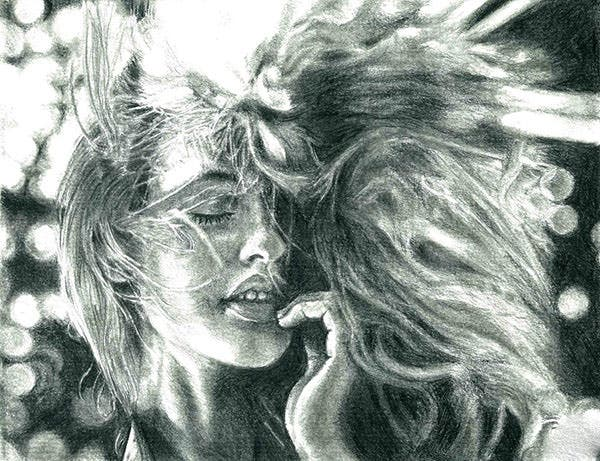 pencil portrait of a pretty girl with hair blown copy