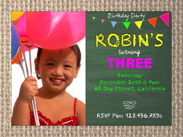 pennant birthday photo invitation
