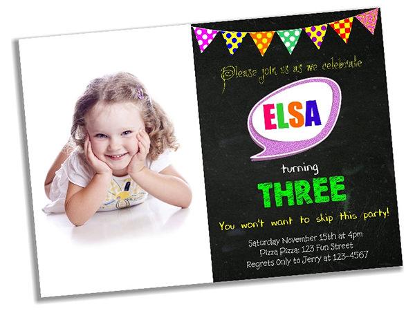 pennant birthday photo invitation1