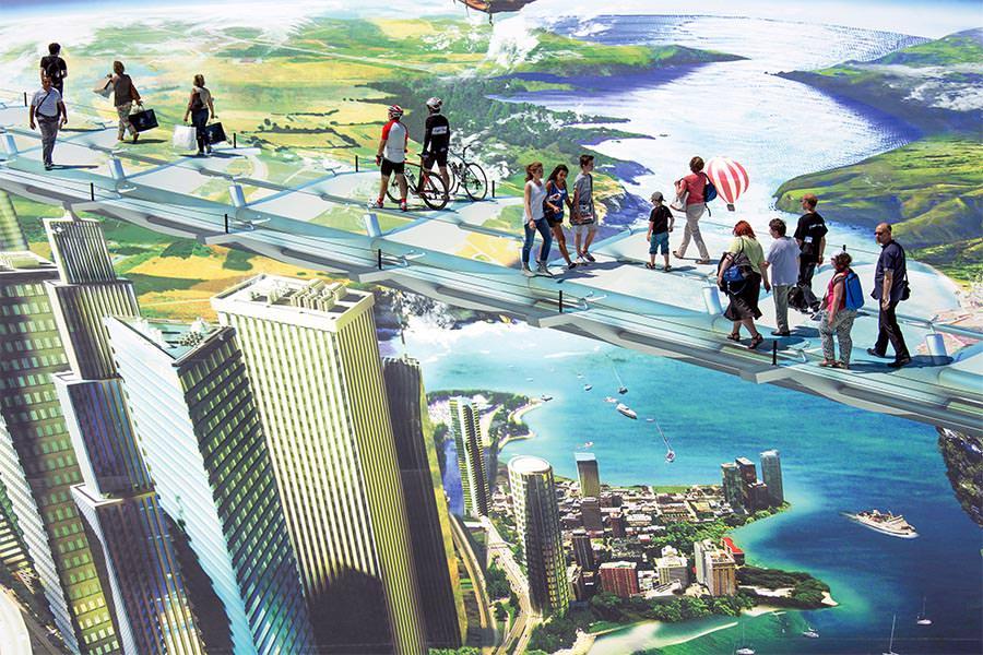 people walk on a giant 3d street art
