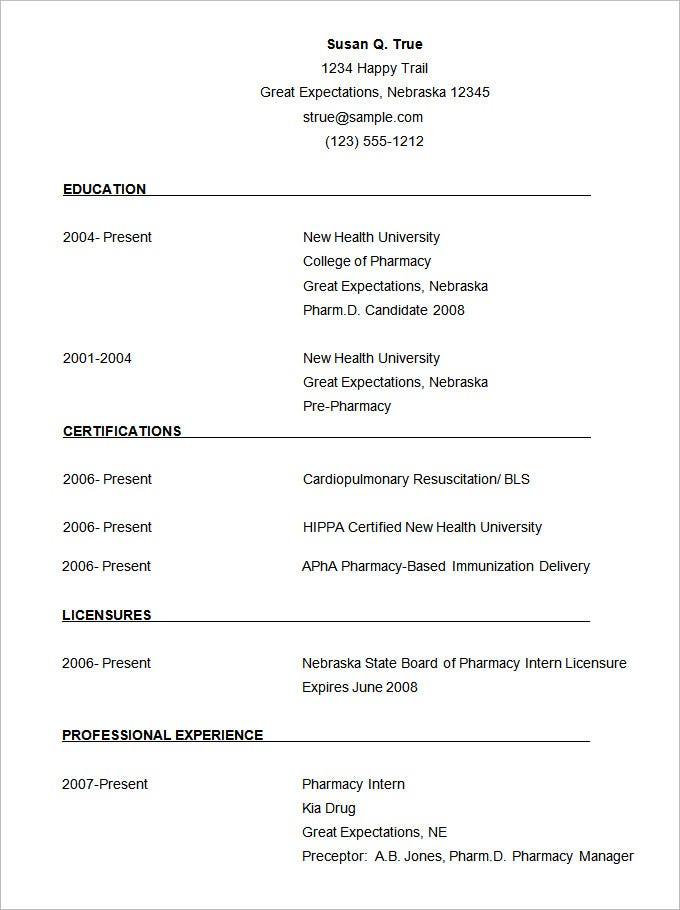 cv templates 61 free samples examples format download free - Pharmacist Resume Template