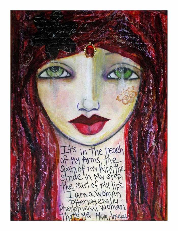 phenomenal woman painting fine art print mixed media1
