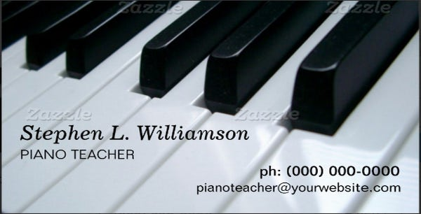 piano teacher business cards
