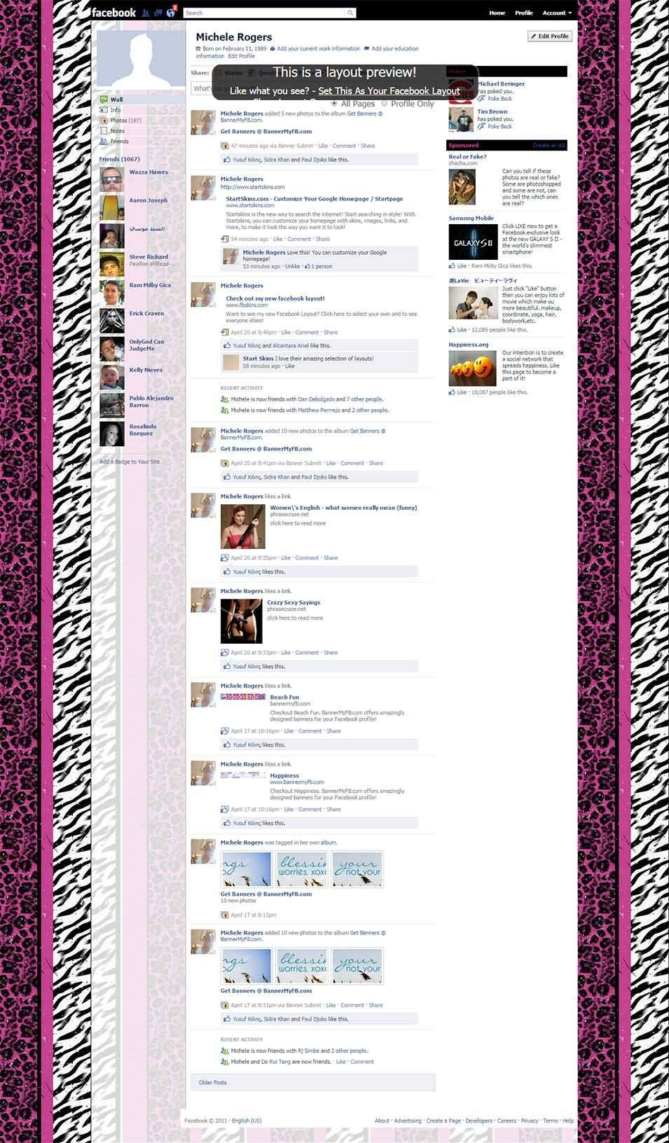 pink animal print stripes facebook layout preview