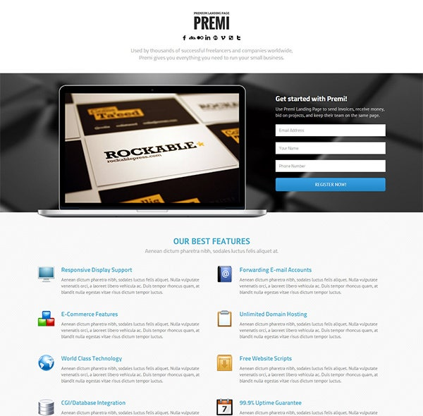 premium business landing page