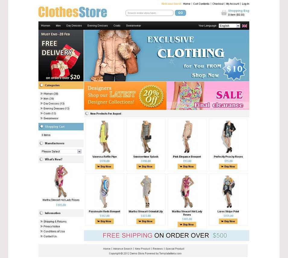 Premium osCommerce Clothes Store Template