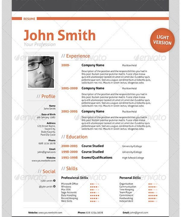 Professional Resume Cv Template  Fodex