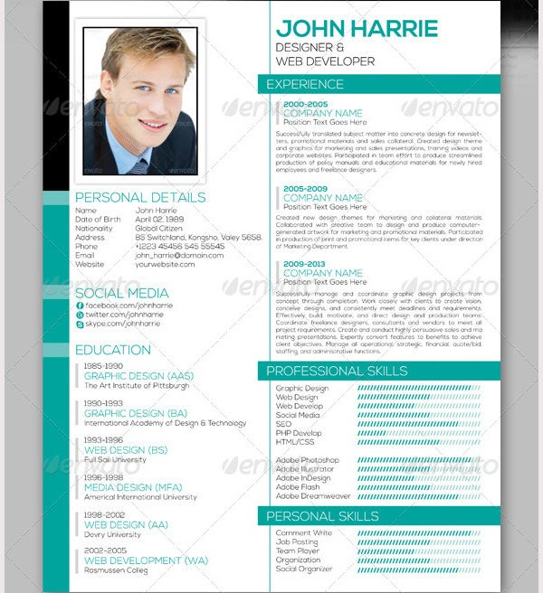 Professional Resume Template – 52 Free Samples Examples