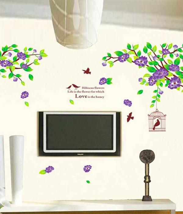 purple flower cage wall sticker