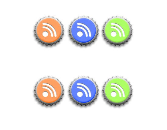 rss feeds icons bottle cap