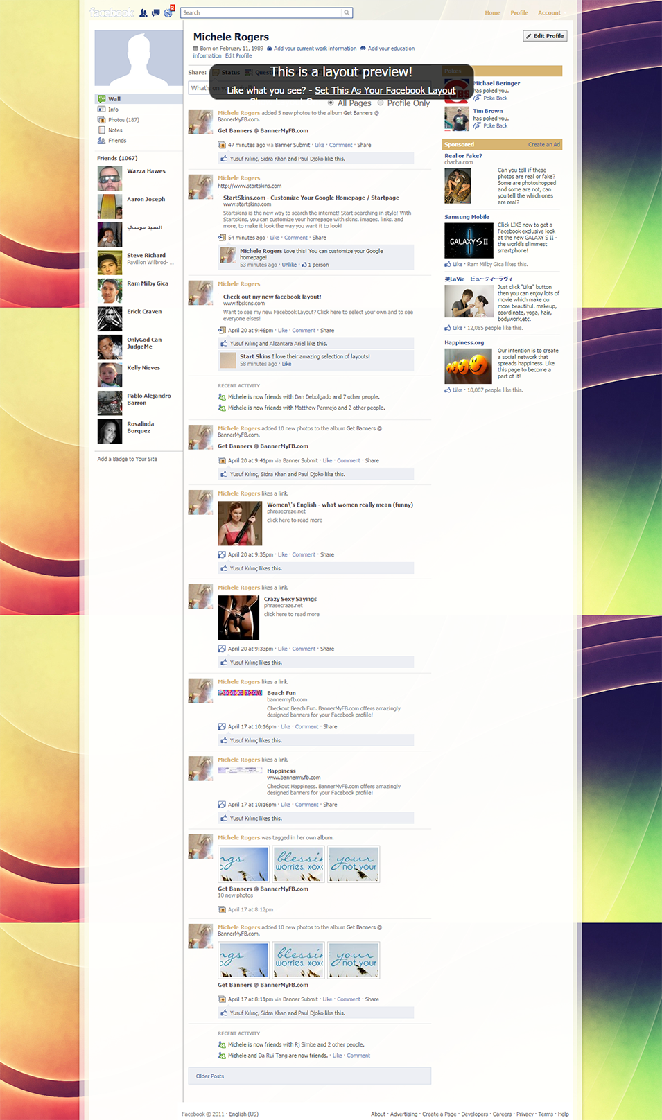 rainbow abstract swirls facebook layout preview