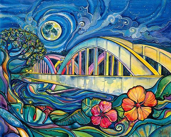 rainbow bridge gicleecanvas print