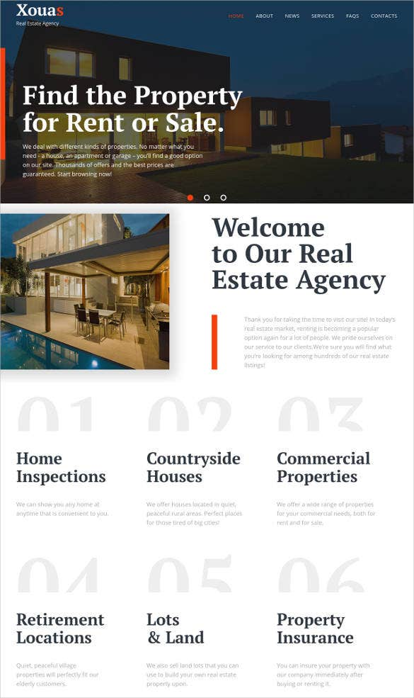 real estate agency jquery html5 website template