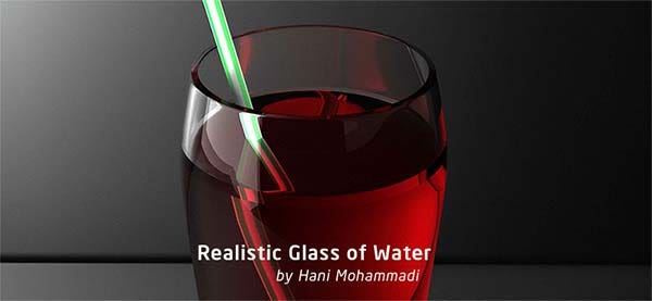 realistic glass of water