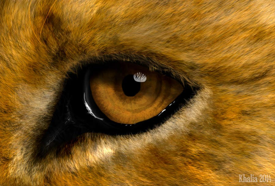 realistic lion eye painting
