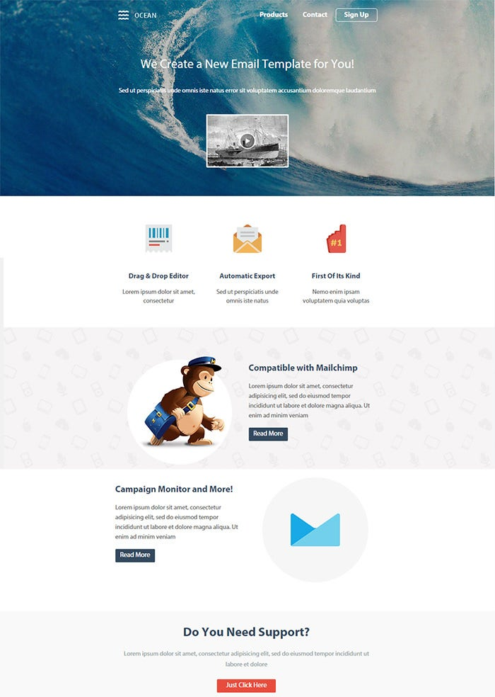 responsive email template with editor