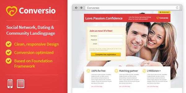 responsive social dating landingpage