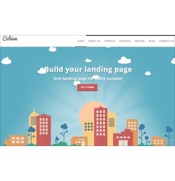 responsive wordpress flat landing page theme