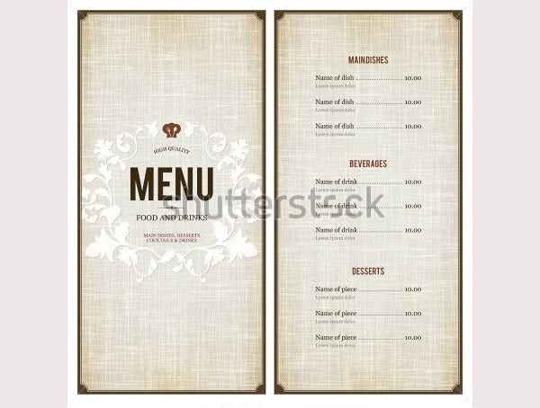 free menu design