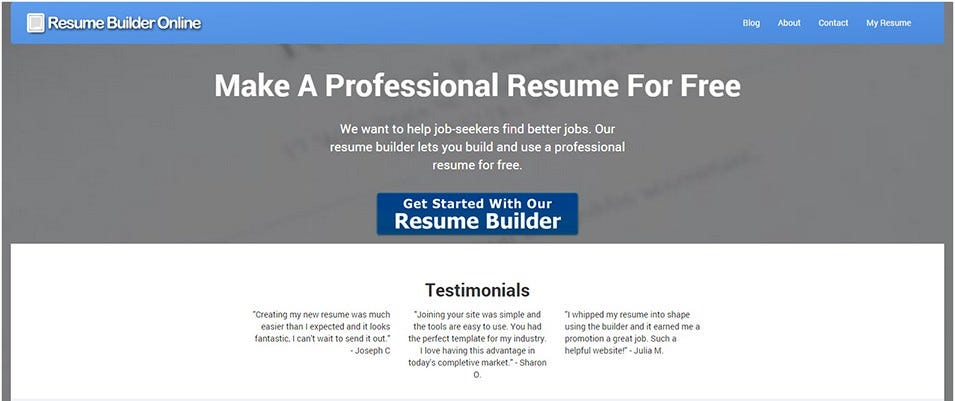 Resume Builder Online  My Resume Builder