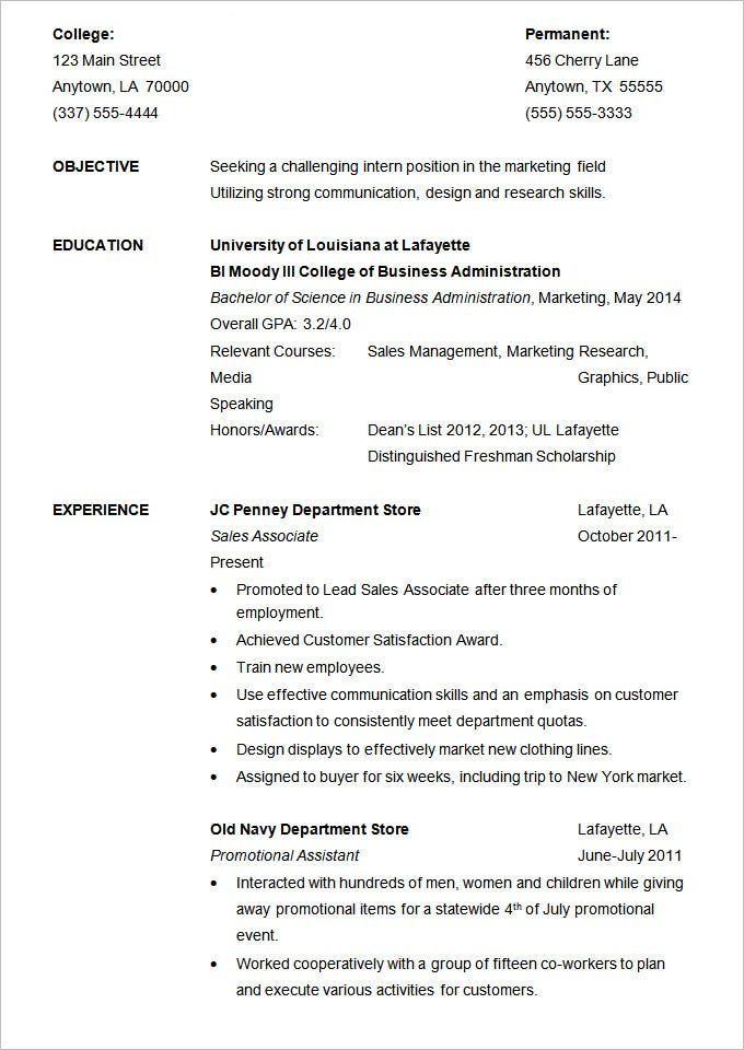Resume Example For Internship Template  Sample Resumes For Students