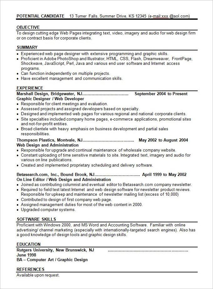 Resume for web content developer