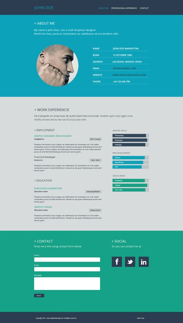 Flat Resume Template   Free Samples Examples Format Download