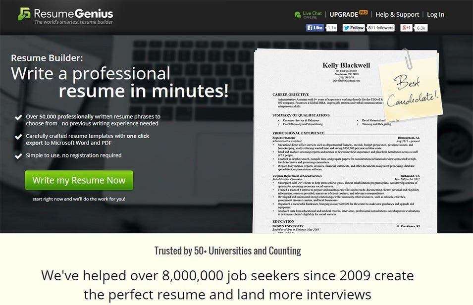 Resume Genius:  Free Resumes Builder