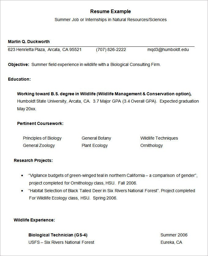 Resume Example – 34+ Free Samples, Examples, Format Download