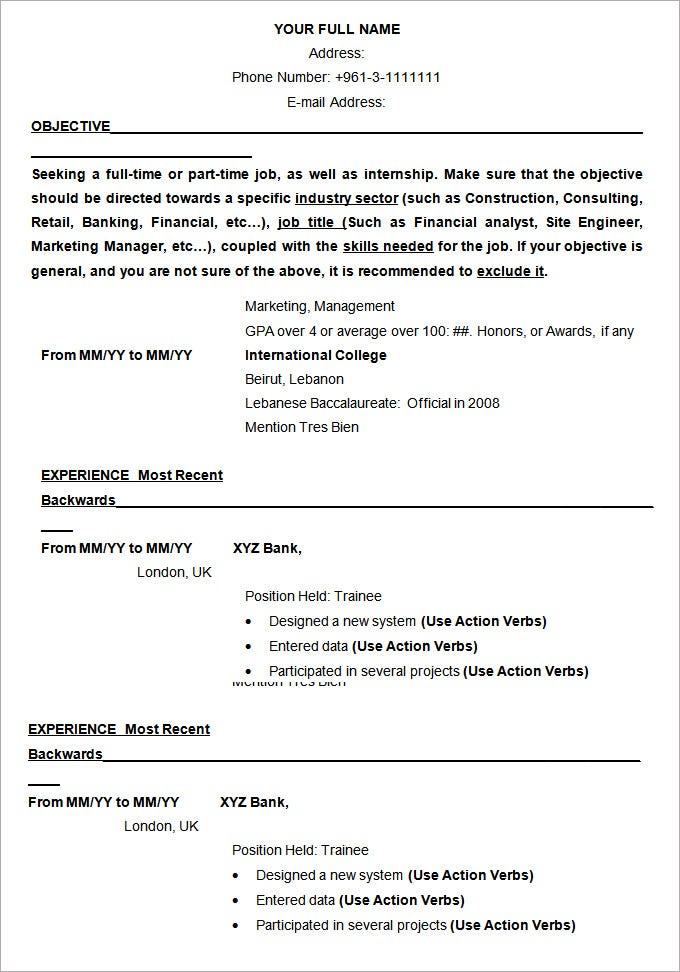 Resume Templates And Examples Free Student Resume Templates