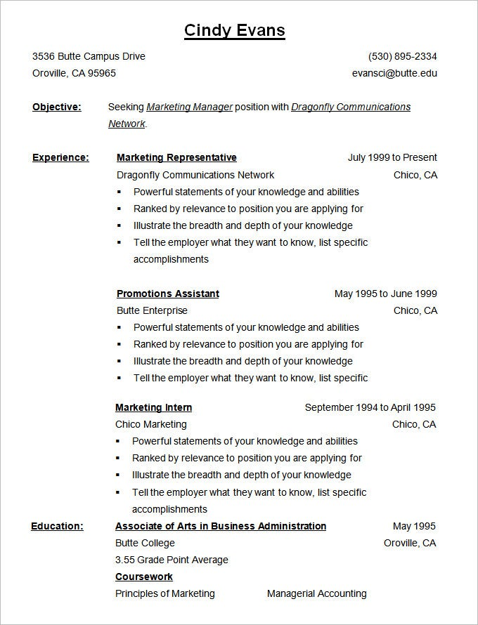 chronological resume template  u2013 25  free samples  examples