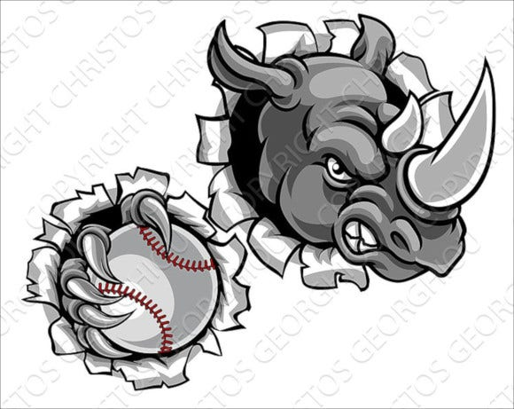 rhino holding baseball ball background