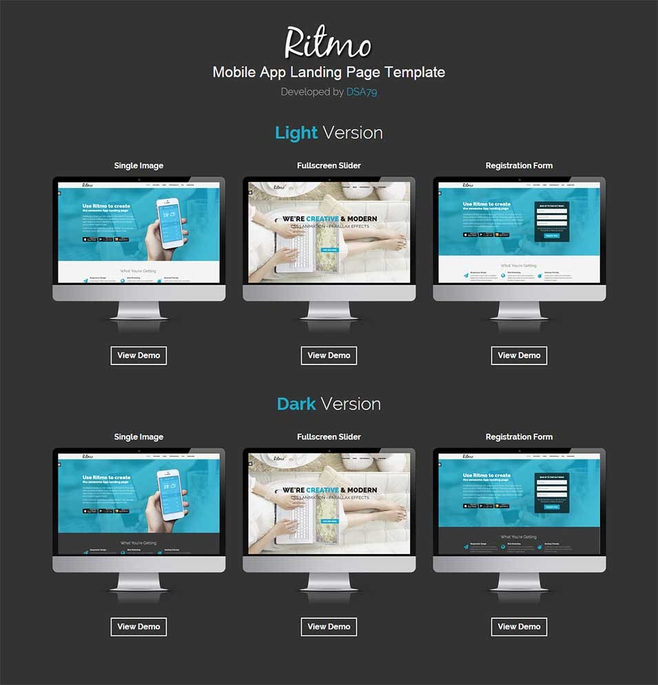 ritmo mobile app landing page html5 template preview