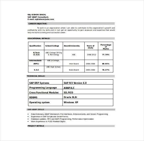 sap consultant resume template word format free download - Free Download Resume Templates Word