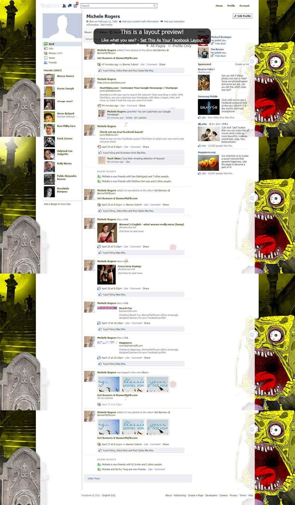 spongebob scarypants animated grave facebook layout preview