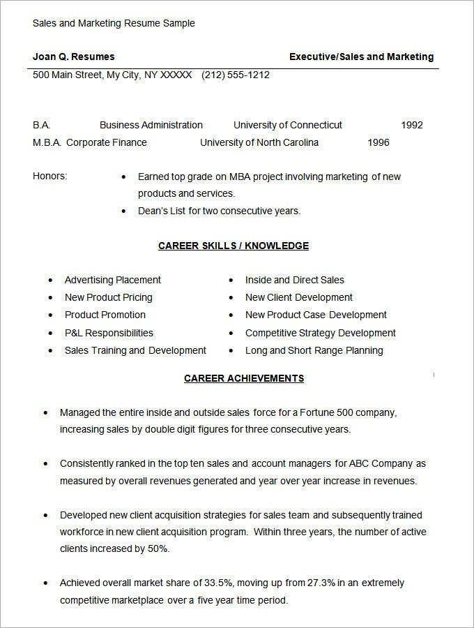 Marketing Manager Resume Sample Throughout Ucwords Resume Template
